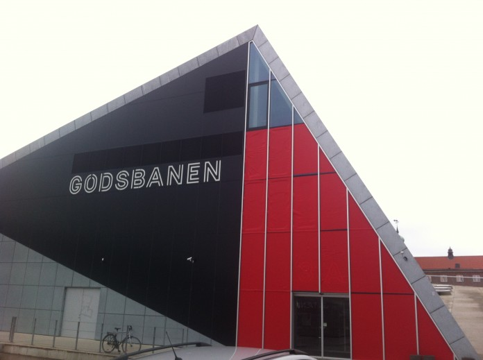 MAB14 venue Godsbanen ('the Freight Yard') dressed in red - not because of upcoming Christmand. Because of the biennale.